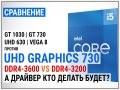 Сравнение Intel UHD Graphics 730 c DDR4-3200 и DDR4-3600 против GT 1030, GT 730, UHD 630 и Vega 8 в 16 играх в 2021
