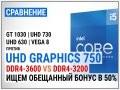 Intel UHD Graphics 750 c DDR4-3200 и DDR4-3600 против GT 1030, UHD 730, UHD 630 и Vega 8 в 16 играх в 2021