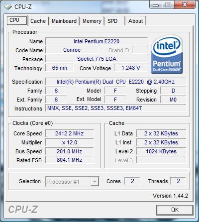 cpu-z Intel Pentium Dual-Core