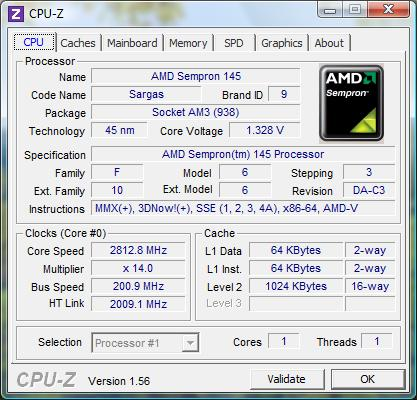 cpu-z AMD Sempron 145