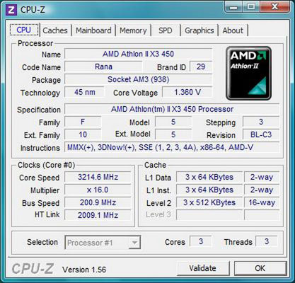 cpu-z AMD Athlon II X3 450