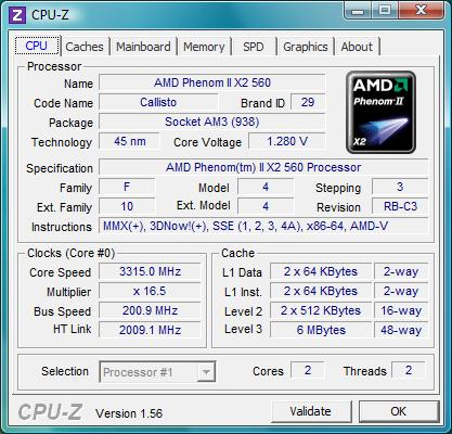 cpu-z AMD Phenom II X2 560