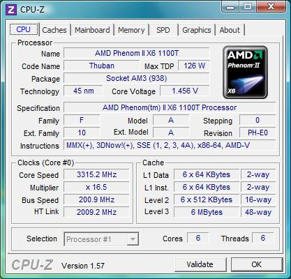 cpu-z AMD Phenom II X6 1100T