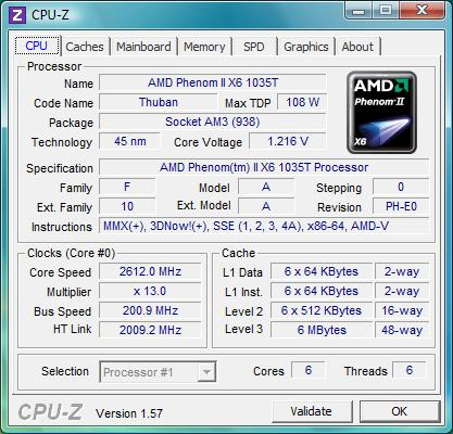 cpu-z AMD Phenom II X6 1035Т