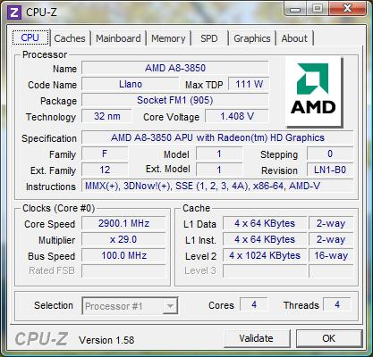 cpu-z AMD APU A8-3850