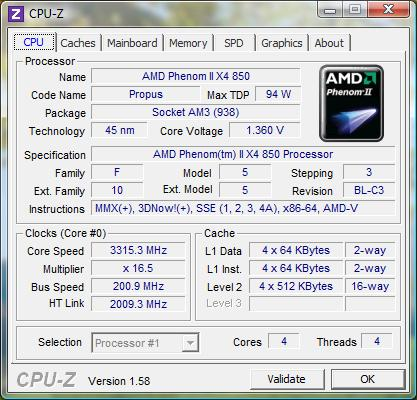 cpu-z AMD Phenom II X4 850