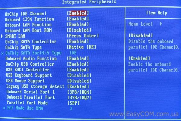 Вкладка Integrated Peripherals служит для включения-отключения