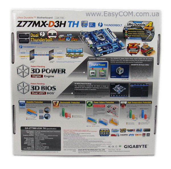 GIGABYTE GA-Z77MX-D3H TH box rear