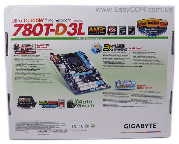 GIGABYTE GA-780T-D3L box rear