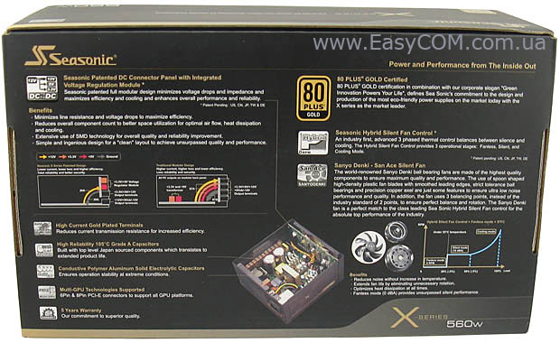 Seasonic X-560 Gold box rear
