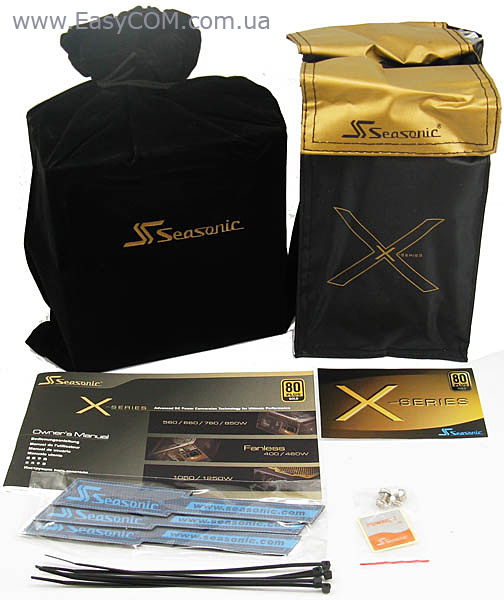 Seasonic X-560 Gold packaging arrangement