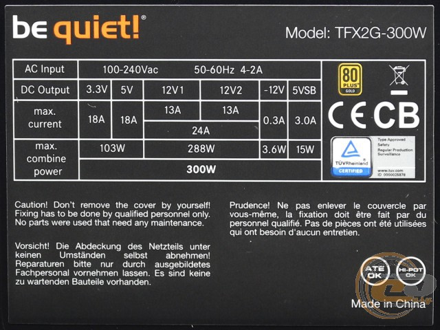 be quiet! TFX POWER 2 300W (be quiet! TFX2G-300W)