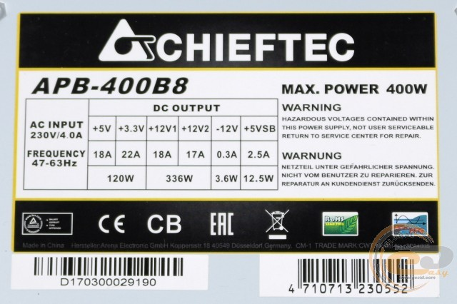 CHIEFTEC VALUE APB-400B8