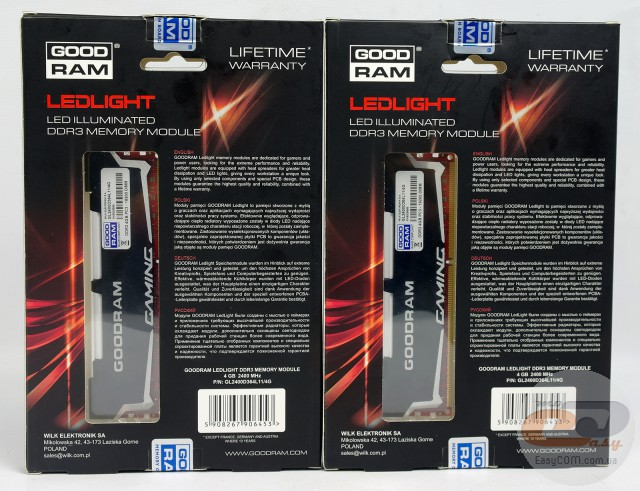 GOODRAM LEDLIGHT DDR3-2400 GL2400D364L11/4G