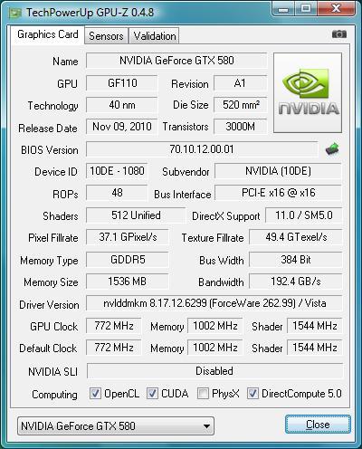 gpu-z ZOTAC GeForce GTX 580