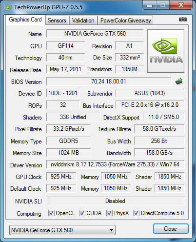 gpu-z ASUS GeForce GTX 560 DirectCU II TOP