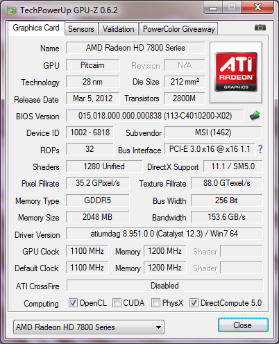 GPU-Z MSI Radeon HD 7870 HAWK
