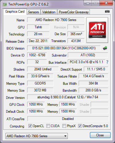 AMD Radeon HD 7970 GHz Edition cpu-z