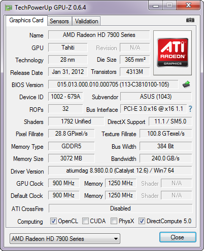 ASUS HD7950-DC2T-3GD5 cpu-z