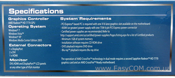 Sapphire Radeon HD 7770 Vapor-X GHz OC Edition specification
