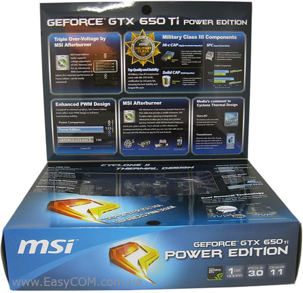 MSI GeForce GTX 650 Ti Power Edition OC box