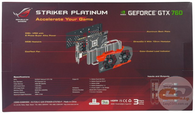 ASUS GeForce GTX 760 STRIKER PLATINUM (STRIKER-GTX760-P-4GD5)