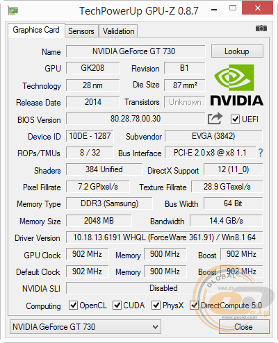EVGA GeForce GT 730 2GB DDR3