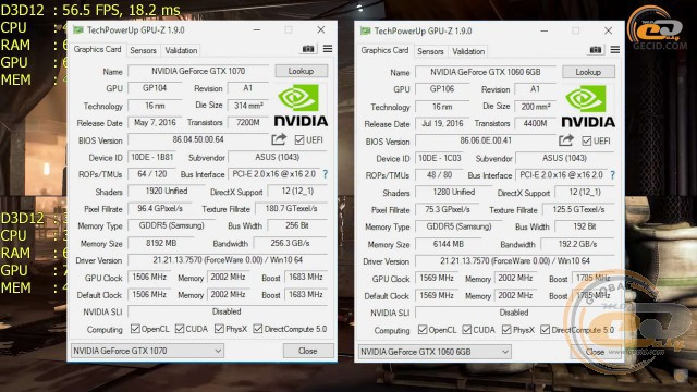 GeForce GTX 1060 6GB vs GeForce GTX 1070