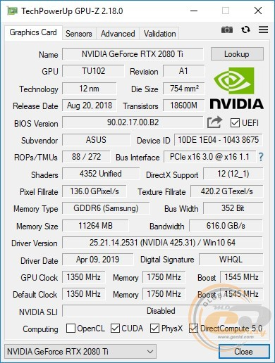 ASUS Turbo GeForce RTX 2080 Ti (TURBO-RTX2080Ti-11G)